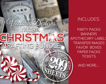 Christmas MEGA Crafting Bundle - Paper Crafting Printables Christmas Party Banner Scrapbooking Collage Sheet Paper Crafting  - 001515