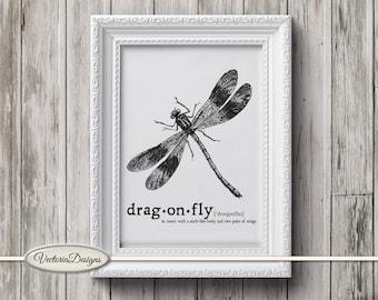 Dragonfly print printable art black and white print dictionary digital print printable instant download digital collage sheet - VD0645
