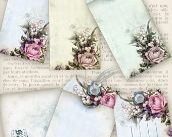 Shabby Luggage Tags printable paper craft art hobby crafting scrapbooking instant download digital collage sheet - VDTASC1092