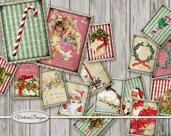 Christmas Postage Stamps, Christmas Decoration, Christmas Digital Craft, Christmas Ephemera, Christmas Stamps Printable, Xmas 001552