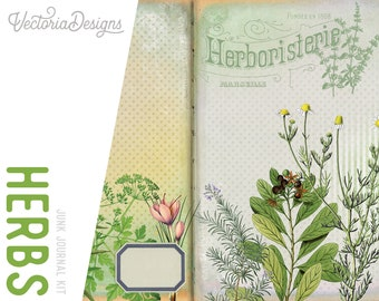 Herbs Junk Journal Kit, Printable Journal Kit, Digital Collage Sheets, Botanical Junk Journal, Digital Journal Kit, Craft Kit, DIY 001983