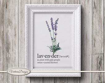 Lavender print printable art black and white print dictionary digital print printable instant download digital collage sheet - VD0613
