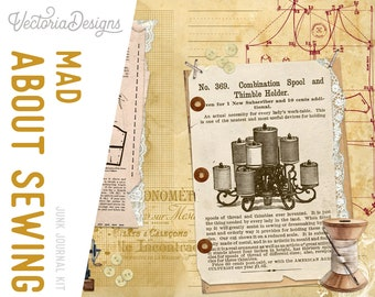 Mad About Sewing Vertical Journal, Junk Journal Pack, Scrapbook Journal, Printable Paper Craft, Digital Paper Scrapbook,Embelishments 002047