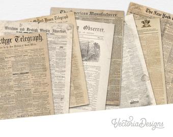 Grunge Newspaper Paper Pack, Printable Paper Pack, Vintage Newspaper, Background Paper, Instant Download, Grunge Paper Pack, DIY Kit 001565
