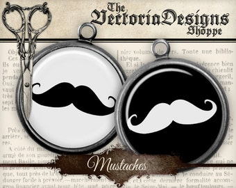 Mustache Circles - 1.5 inch / 1 inch / 20mm / 18mm / 16 mm / 14mm / 0.5 inch - VDCIRE0066