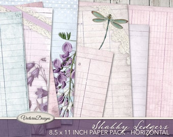 Shabby Ledger Paper, Decorative Paper, Printable Paper, Junk Journal Art, Scrapbook Paper, Collage Sheets, Shabby Elegant Decor, Art 001913