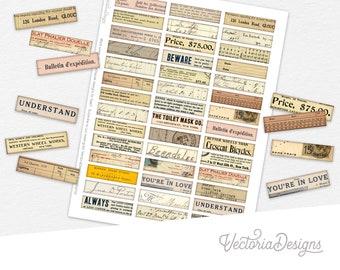 Mini Ephemera Labels #3 scrapbooking junk journal embellishments digital download instant download printable digital collage sheet - 002289