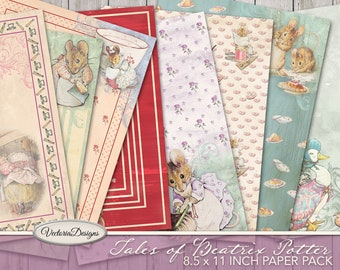 Tales Of Beatrix Potter 8.5 x 11 Inch Paper Pack, Journal Pages Printable, Digital Paper, Scrapbook Paper, Digital Peter Rabbit 001921
