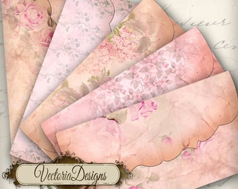Floral Envelopes, Digital Envelopes, Printables Envelopes, Vintage Envelopes, Pink Envelopes, Flower Envelopes, Digital Paper Art 000035