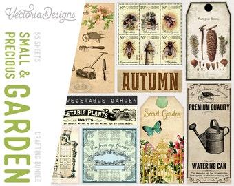 Small & Precious Garden Crafting Bundle, Garden Paper Pack, Digital Journal Kit, Garden Labels, Garden Tags, Garden Envelopes  001752