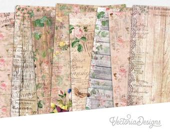 Shabby Vintage Wood Paper Pack, Printable Paper Pack, Digital Paper Paper, Scrapbook Paper, Decorative Paper Pack, Old Paper Pack  002252
