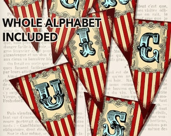 Circus Banner, Printable Circus Banner, Circus Alphabet, Circus Download, Party Printables, Vintage Circus Printable, Party Supplies 000923