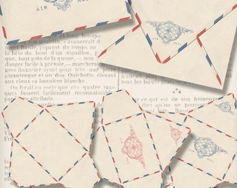 Air Mail Envelopes, Printable Envelopes, Digital Letters, Vintage Envelopes, Paper Craft Envelopes, Digital Download, Stationery  000772