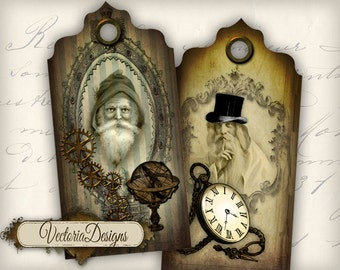 Steampunk Christmas Tags, Christmas Collage Sheets, Christmas Labels, Gift Tags, Christmas Printable, Christmas Decoration, Xmas Art VD0278