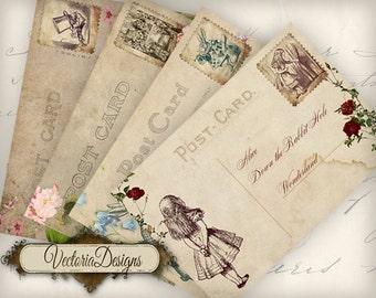 Alice in Wonderland Postcards 6 x 4 inch printable images instant download digital collage sheet 000558