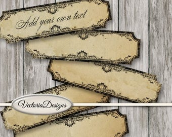 Blank Narrow Labels Printable add text blank digital download gothic paper crafting instant download digital collage sheet - VDLAVI1433