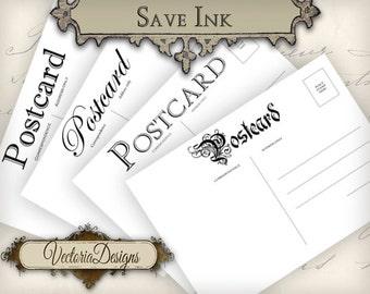Vintage Postcards 5 x 3.5 inch save ink printable images instant download digital collage sheet VD0692