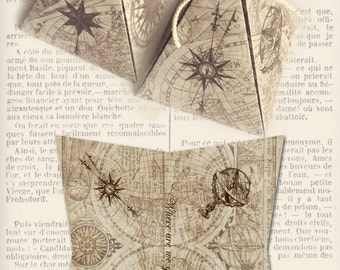 Maps and Compass Steampunk pyramid box vintage printable images digital collage sheet VD0400