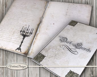 Halloween Junk Journal, Halloween Printables, Journal Kit, Gothic Journal, Digital Download, Halloween Gothic Decoration, 001654