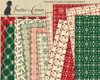 SOC Grandma's Attic Christmas Paper Pack by Studio On The Corner printable paper crafting junk journal backgrounds download - VDPACM1847