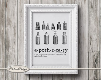 Apothecary print printable art black and white print dictionary digital print printable instant download digital collage sheet - VDTRVI0903