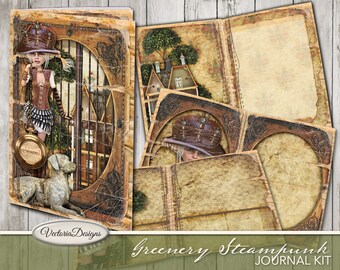 Greenery Steampunk Journal Kit, Printable Journal, Scrapbook Kit, Steampunk Decoration, Paper Craft, Instant Download, Digital Sheets 001915