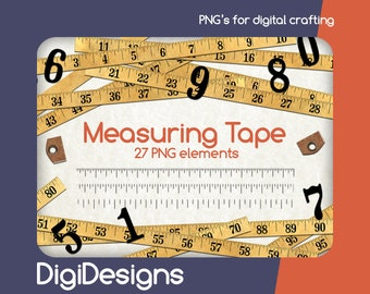 Tape Measure Clip Art, Ruler Clip Art, Digital Measuring Tape, PNG Download, Digital Scrapbook, Paper Measure Tape, Ruler Digital 001941