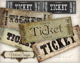 Vintage Tickets Strips instant download printable images digital collage sheet VD0561