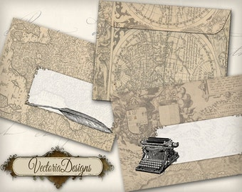 Vintage Maps Envelopes, Printable Envelopes, Digital Envelopes, Printable Letters, Digital Stationery, Instant Download, Retro Letter 000547