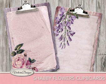 Shabby Clipboards with Flowers printable paper crafting background junk journal scrapbooking instant download digital sheet - VDMISC1725