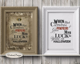 Halloween Quotes Mini Posters printable art prints wall art crafting paper craft instant digital download digital collage sheet - VDPOHA1376