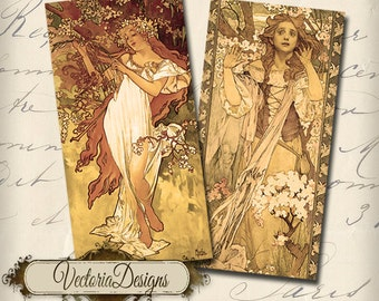 Art Nouveau Women 1 x 2 inch domino instant download printable  images digital collage sheet - VD0011