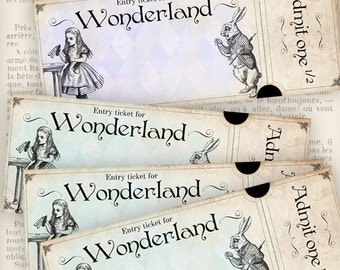 Wonderland Entry Tickets - printable / add your own text - VD0780