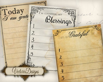 Gratitude Journal Printable, Junk Journal, Cards Journal, Gratitude Cards, Journal Supplies, Digital Journal Cards, Instant Download 000707