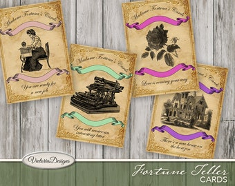 Fortune Teller Cards printable halloween occult party decor paper crafting scrapbook instant download digital collage sheet - VDMIFA1051