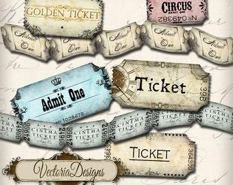 Printable Tickets, Vintage Tickets Strip, Collage Sheets, Digital Tickets, Scrapbook Tickets, Printable Ephemera, Paper Tickets 000175