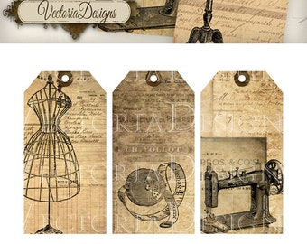 Vintage Sewing Tags shabby printable gift tags printable hobby crafting digital graphics instant download digital collage sheet - 000442