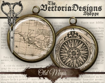 Old Maps Circles - 1 inch / 20mm / 18mm / 16 mm / 14mm / 0.5 inch - VDCIVI0060
