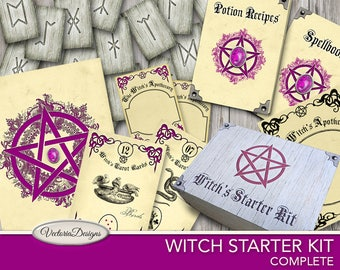 Wicca Starter Kit, Witch Pack, Witch Box, Halloween Printable, Witch Signs, Wiccan Accessories, Witch Crafting, Halloween Gift VDKIHA1663