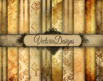 Grunge Steampunk Digital Paper 8.5 x 11 inch paper pack vintage printables digital graphics instant download Digital Collage Sheet - VD0533