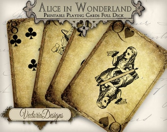 Grunge Alice in Wonderland playing cards full deck card game crafting craft art instant download printable digital collage sheet 000273