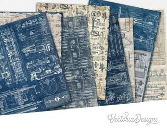 So Much Mechanics Paper Pack, Junk Journal Kit, Ephemera Paper Pack, Decorative Paper, Scrapbook Paper Pack, Printable Paper Pack 002139