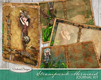 Steampunk Mermaid Journal Kit, Steampunk Decoration, Mermaid Digital Paper, Printable Junk Journal, Instant Download, DIY Journal 001956