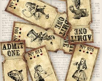 Alice in Wonderland Printable Tickets 1 - 100 raffle digital download paper crafting scrapbooking digital collage sheet - VDTIAL1203