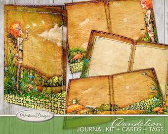 Printable Junk Journal, Dandelion Journal Kit, Digital Journal Pages, Fantasy Crafting, Instant Download, Scrapbook Journal, Collage 001988