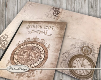 Steampunk Journal, Junk Journal Kit, Printable Journal, Digital Journal Kit, Diy Kit, Scrapbook Kit, Digital Paper, Steampunk Decor  001467