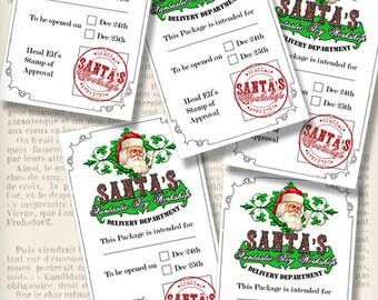 Christmas Labels, Santa Labels, Printable Christmas Workshop Tags, Christmas Gift List, Christmas Digital, Santa Delivery Label 001279
