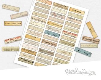 Mini Labels, Ephemera Labels, Scrapbook Embellishments, Junk Journal Labels, Digital Mini Labels, Small Labels, Collage Sheet   002287