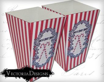 Christmas Popcorn Box, Printable Christmas Boxes, Digital Christmas Clip Art, Christmas Favor Boxes, Xmas Popcorn, Scrapbooking VD0293