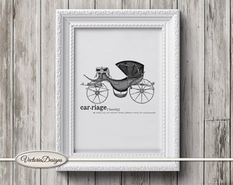 Carriage print printable art black and white print dictionary digital print printable instant download digital collage sheet - VD0615